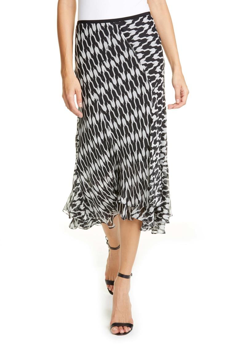Diane Von Furstenberg DVF Debra Houndstooth Silk Blend Skirt