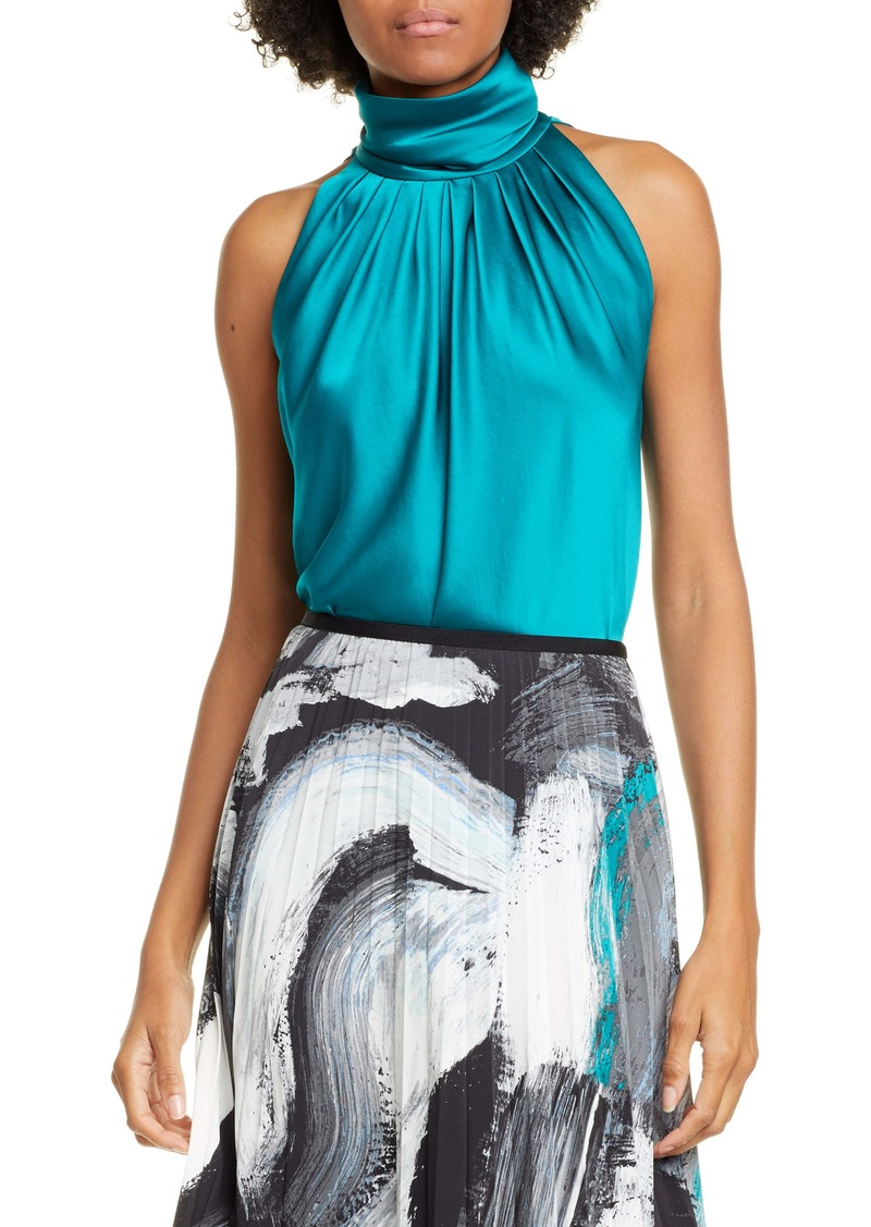 Diane Von Furstenberg DVF Dove Turtleneck Sleeveless Satin Top