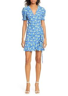 Diane Von Furstenberg DVF Emilia Floral Short Sleeve Wrap Dress