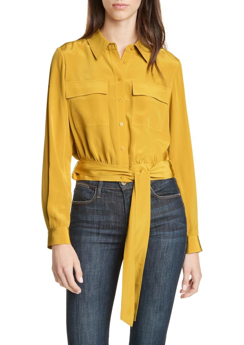 Diane Von Furstenberg DVF Everlynn Crop Silk Blouse