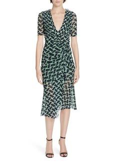Diane Von Furstenberg DVF Farrell Basketweave Print Asymmetrical Mesh Dress