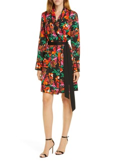 Diane Von Furstenberg DVF Floral Long Sleeve Tie Waist Stretch Silk Dress