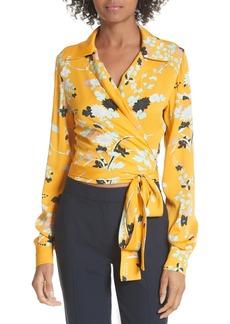 Diane Von Furstenberg DVF Floral Silk Wrap Blouse