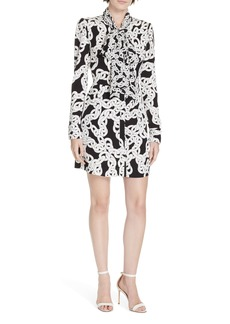 Diane Von Furstenberg DVF Franca Chain Print Tie Neck Dress