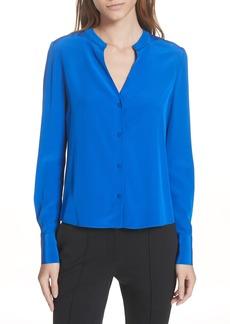 Diane Von Furstenberg DVF Front Button Collarless Silk Blouse
