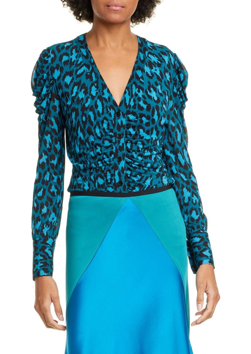 Diane Von Furstenberg DVF Gladys Ruched Sleeve Leopard Print Blouse