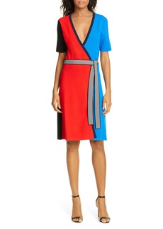 Diane Von Furstenberg DVF Francine Colorblock Wrap Dress