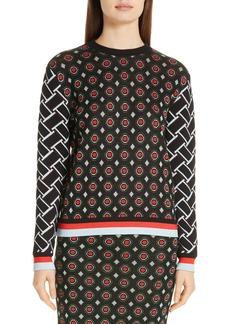 Diane Von Furstenberg DVF Hari Geo Jacquard Metallic Detail Sweater
