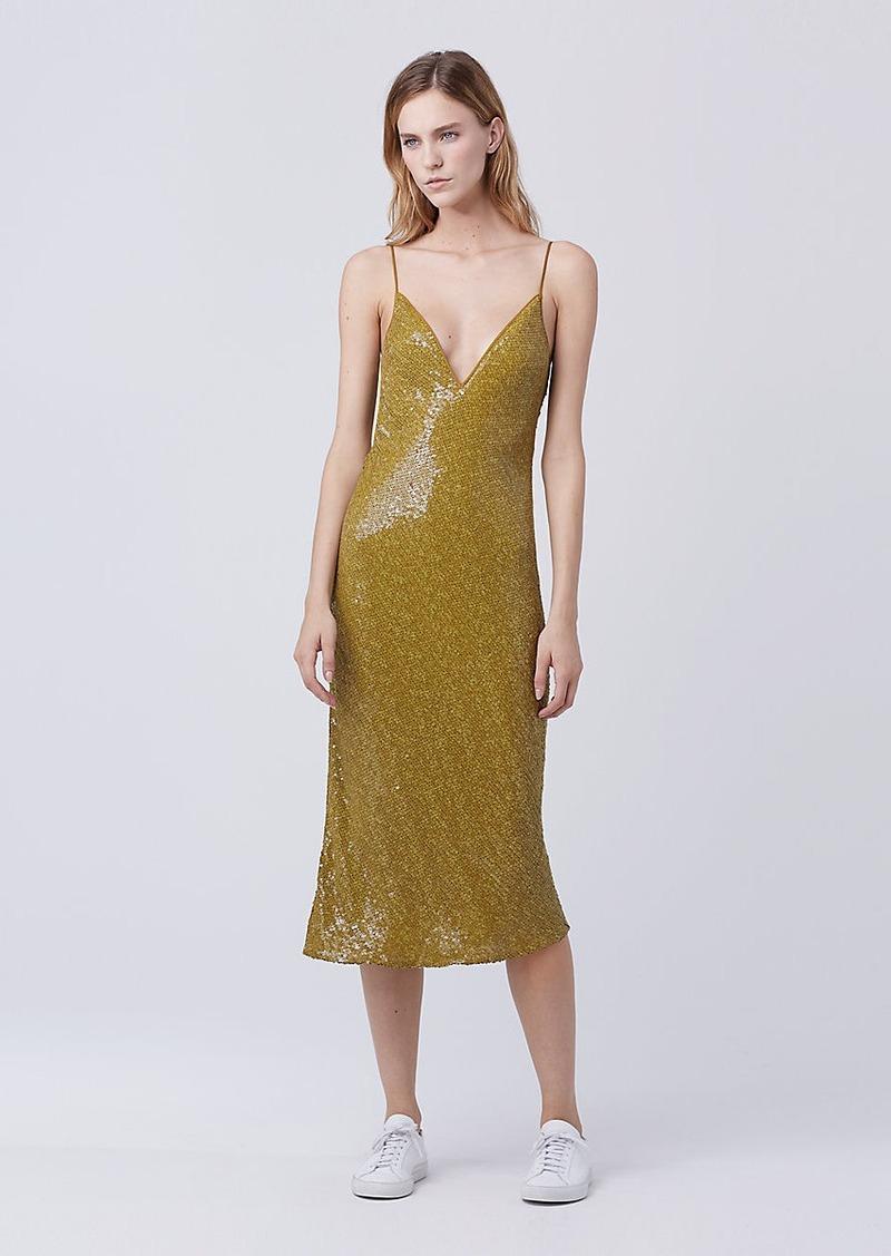 Diane Von Furstenberg DVF Havita Embellished Slip Dress