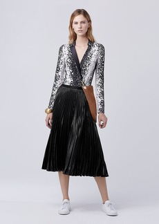 Diane Von Furstenberg DVF Heavyn Pleated Midi Skirt