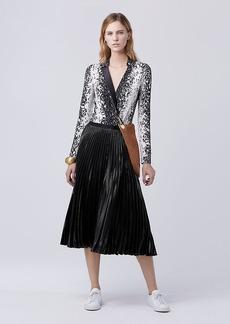 Diane Von Furstenberg DVF Heavyn Pleated Midi Skirt