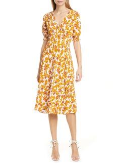 Diane Von Furstenberg DVF Idris Print V-Neck Dress