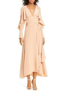 Diane Von Furstenberg DVF Isla Silk Midi Wrap Dress