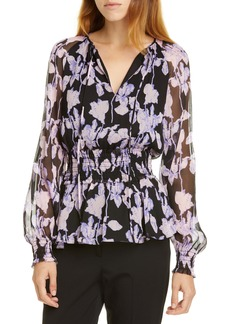 Diane Von Furstenberg DVF Jacie Floral Print Silk Peplum Top