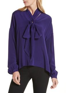 Diane Von Furstenberg DVF Jessamine Tie Neck Silk Blouse