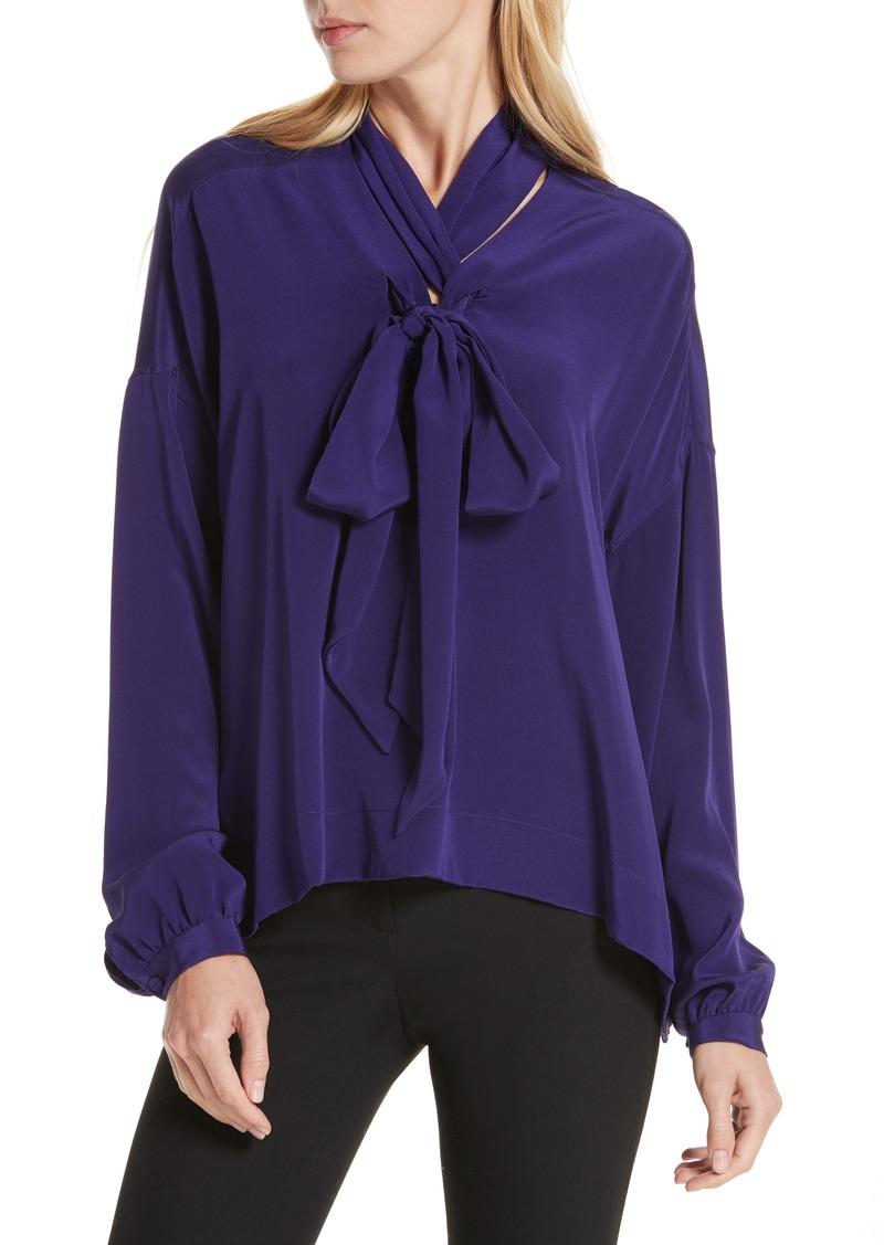 e37416003fa4e Diane Von Furstenberg DVF Jessamine Tie Neck Silk Blouse | Casual Shirts