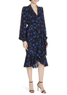 Diane Von Furstenberg DVF Jovie High/Low Ruffle Hem Wrap Dress