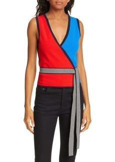 Diane Von Furstenberg DVF Kandy Colorblock Wrap Top