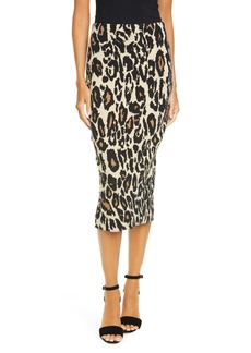 Diane Von Furstenberg DVF Kara Animal Print Midi Pencil Skirt