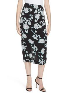 Diane Von Furstenberg DVF Kara Botanical Print Midi Skirt