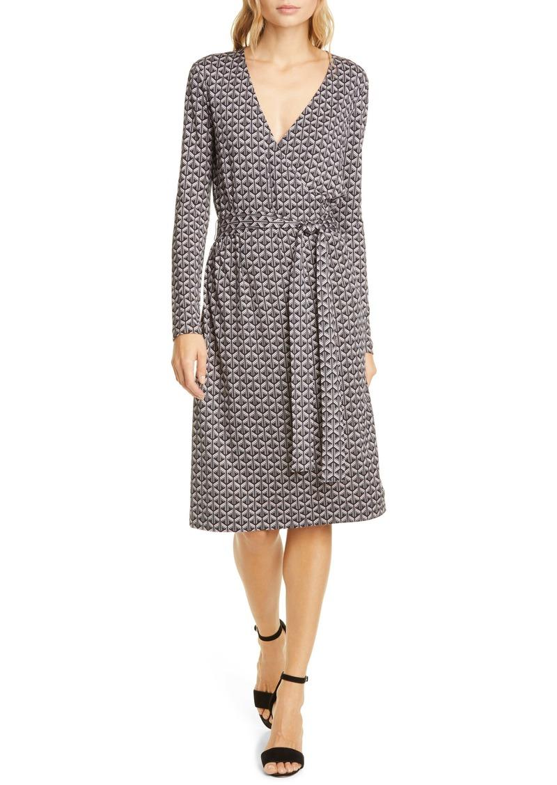Diane Von Furstenberg DVF Karis Geo Print Long Sleeve Faux Wrap Silk Dress