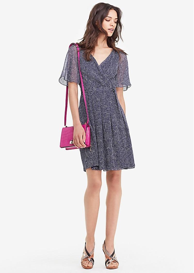 Diane Von Furstenberg DVF Katina Flutter Sleeve Chiffon Wrap Dress