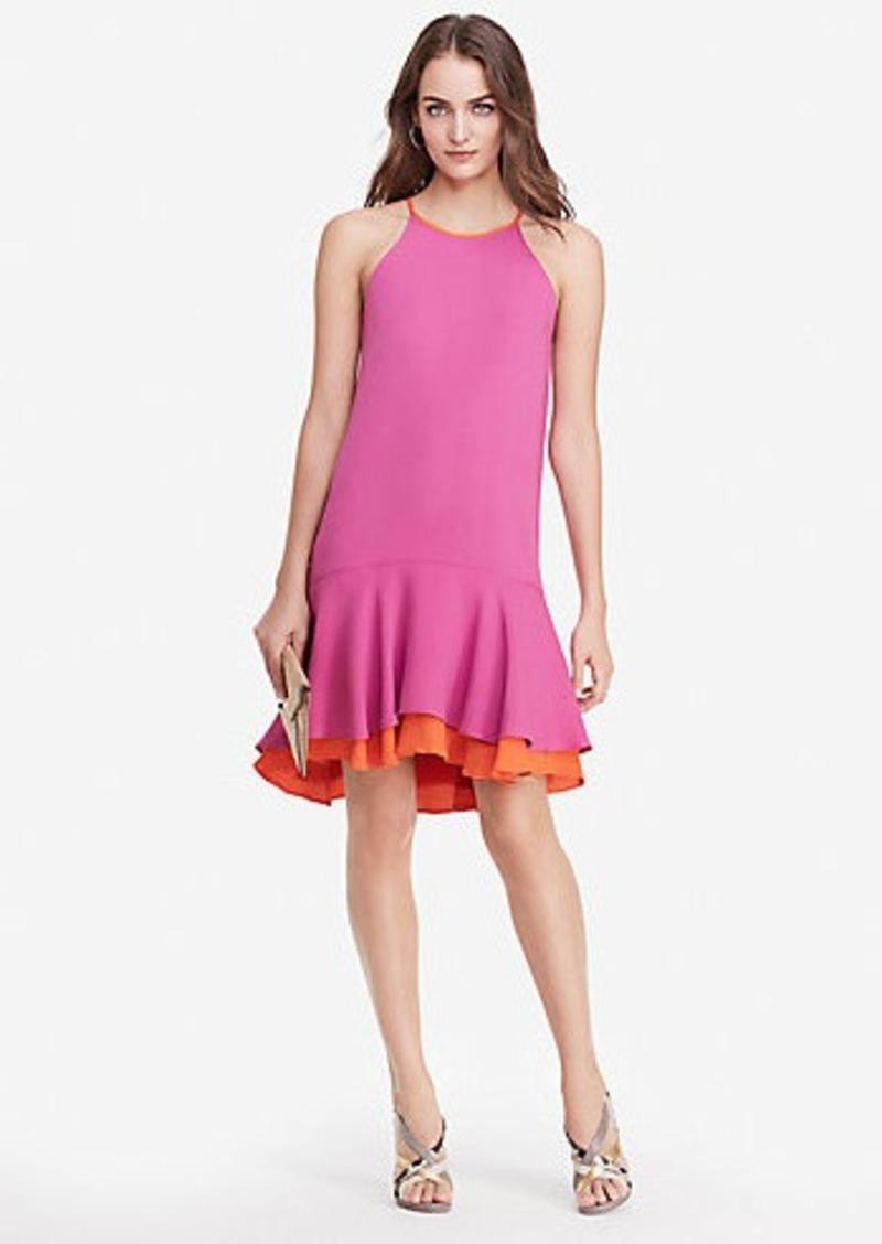 Diane Von Furstenberg DVF Kera Contrast Ruffle Dress
