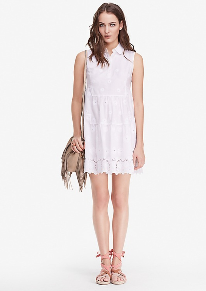 Diane Von Furstenberg DVF Kit Cotton Eyelet Shirt Dress