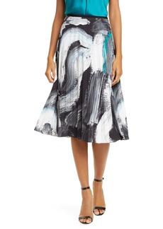 Diane Von Furstenberg DVF Lay Brushstroke Pleated Skirt