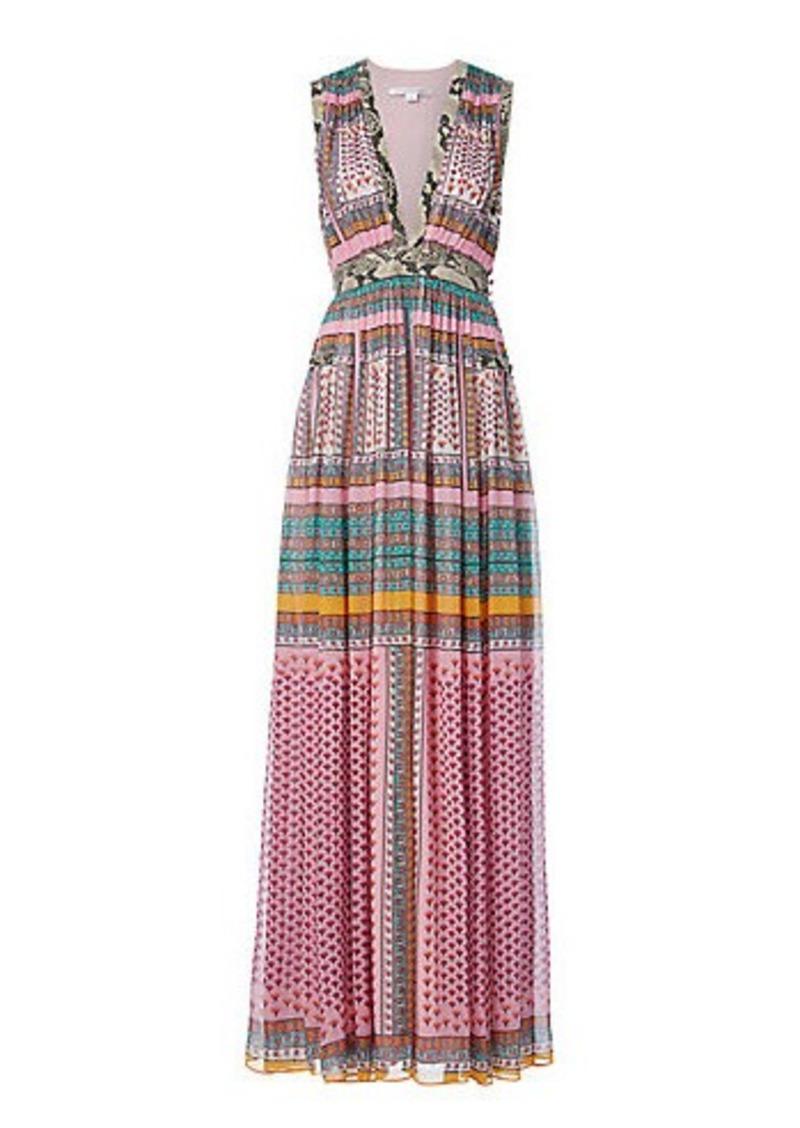 Diane Von Furstenberg DVF Lelani Printed Pleated Gown