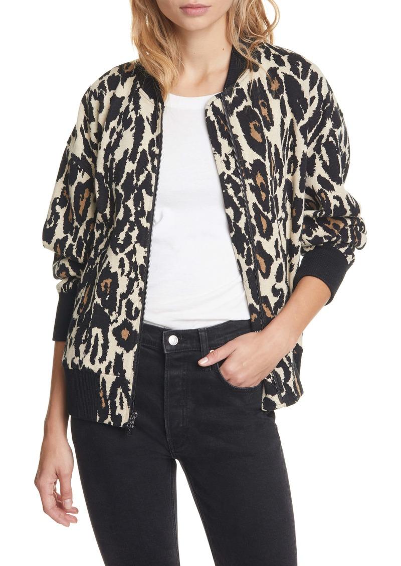 Diane Von Furstenberg DVF Leopard Print Cotton Bomber Jacket