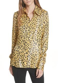 Diane Von Furstenberg DVF Leopard Print Silk & Metallic Shirt