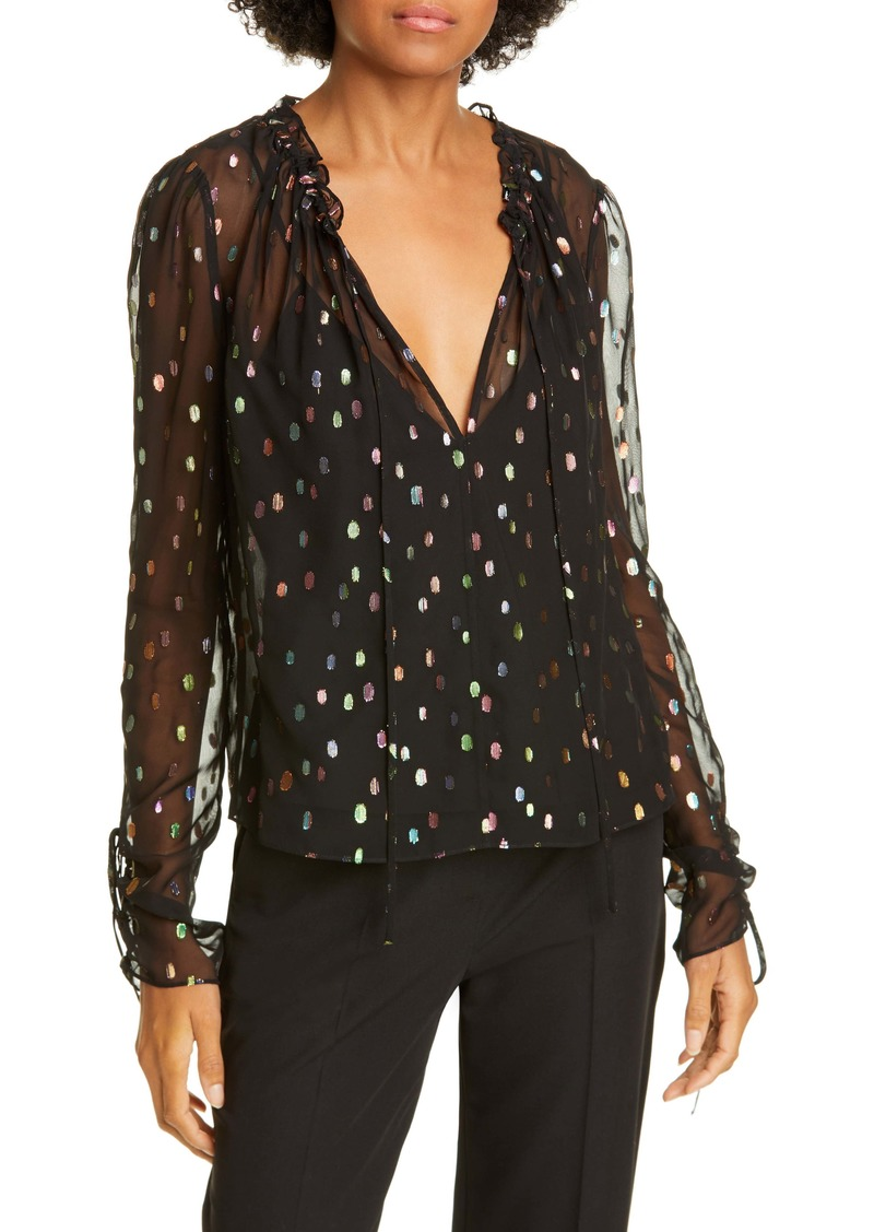 Diane Von Furstenberg DVF Lilian Metallic Dot Tie Sleeve Sheer Blouse