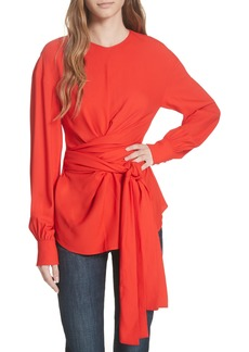 Diane Von Furstenberg DVF Long Sleeve Wrap Front Stretch Crepe Blouse