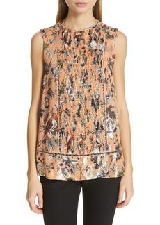 Diane Von Furstenberg DVF Lottie Metallic Detail Sleeveless Silk Blend Blouse