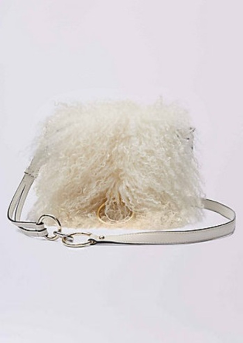 Diane Von Furstenberg DVF Love Power Mongolian Fur Saddle Bag