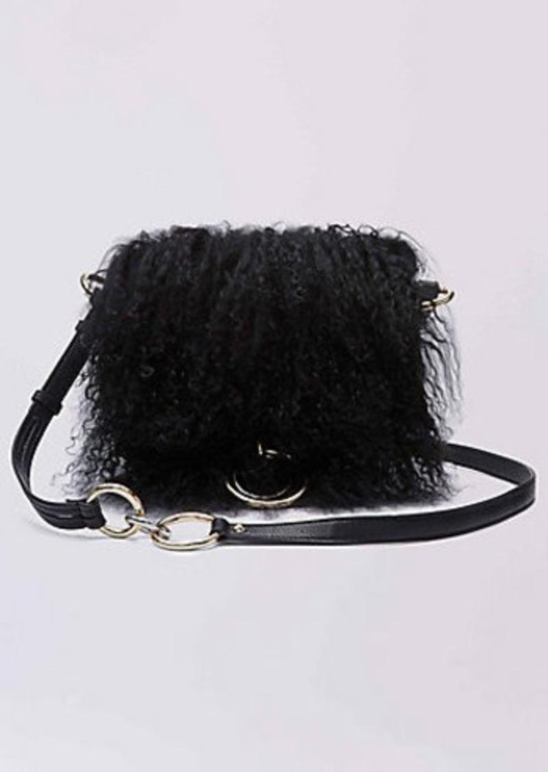 Diane Von Furstenberg DVF Love Power Mongolian Fur Saddle Bag