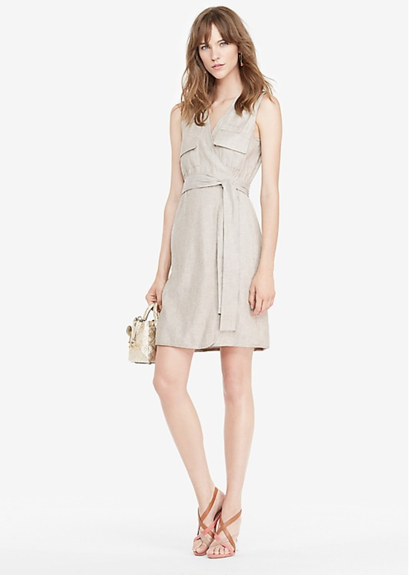 Diane Von Furstenberg DVF Mellany Linen Wrap Dress