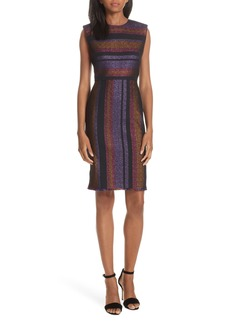 Diane Von Furstenberg DVF Metallic Stripe Sheath Dress