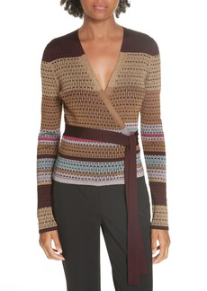 Diane Von Furstenberg DVF Metallic Stripe Wrap Sweater