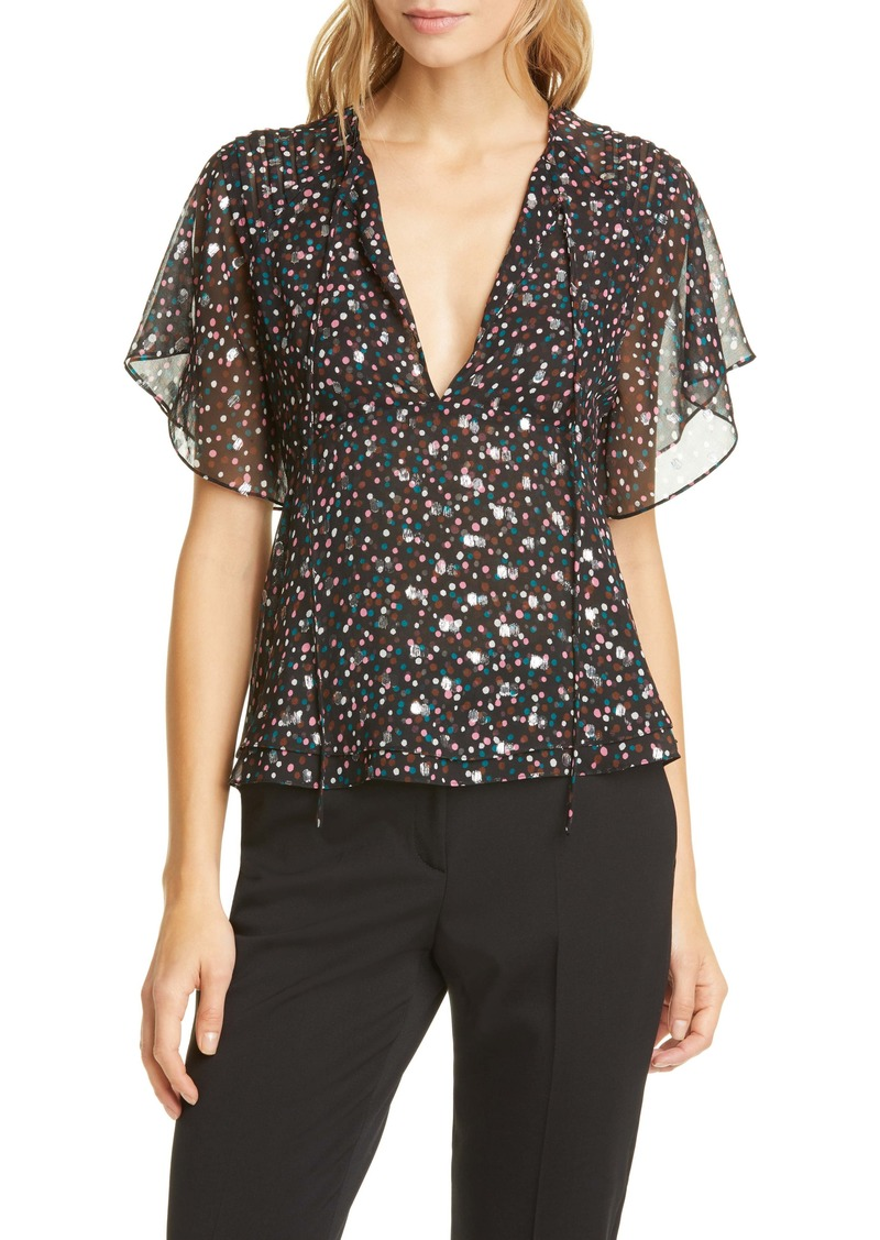 Diane Von Furstenberg DVF Mildred Metallic & Confetti Dot Silk Blend Georgette Blouse