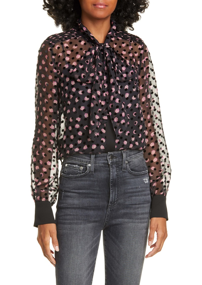 Diane Von Furstenberg DVF Minnie Textured Dot & Rose Silk Blend Blouse