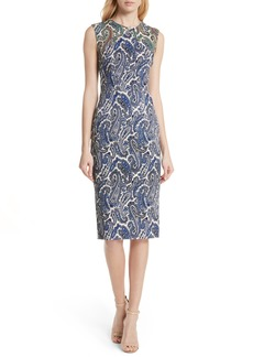Diane Von Furstenberg DVF Mixed Paisley Sheath Dress