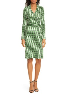Diane Von Furstenberg DVF New Jeanne Two Long Sleeve Silk Wrap Dress