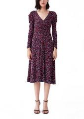 Diane Von Furstenberg DVF New Rhea Ruched Reversible Long Sleeve Mesh Dress