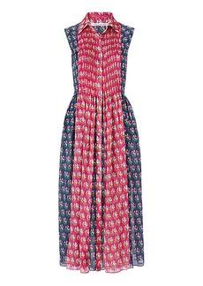 DVF Nieves Pleated Chiffon Shirt Dress