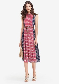DVF Nieves Pleated Chiffon Shirt Dress