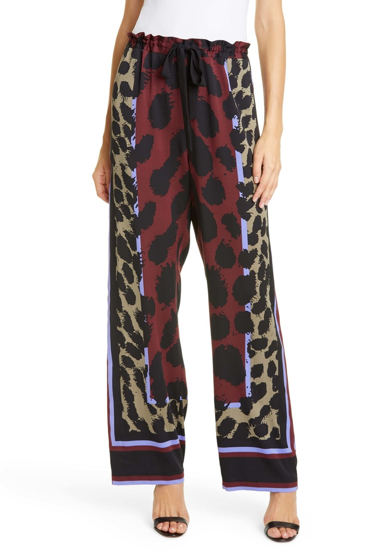 Diane Von Furstenberg DVF Nik Pattern Mix Drawstring Stretch Silk Pants
