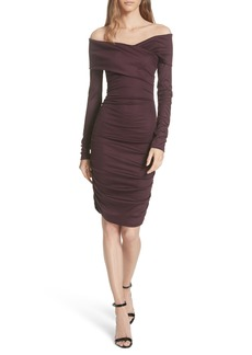 Diane Von Furstenberg DVF Off the Shoulder Ruched Jersey Dress