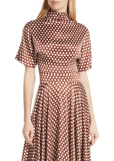 Diane Von Furstenberg DVF Polka Dot High Neck Crop Silk Blouse